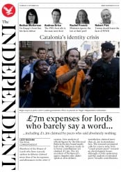 The Independent (UK) Newspaper Front Page for 21 September 2017