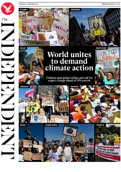 The Independent Newspaper Front Page (UK) for 21 September 2019