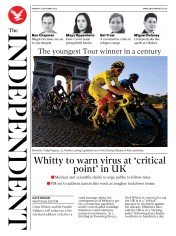 The Independent front page for 21 September 2020