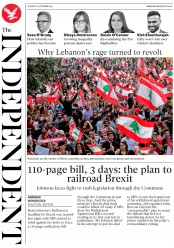 The Independent (UK) Newspaper Front Page for 22 October 2019
