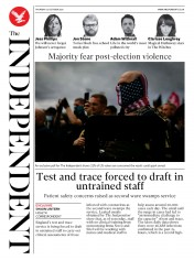 The Independent front page for 22 October 2020