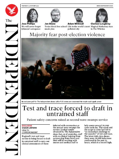 The Independent Newspaper Front Page (UK) for 22 October 2020