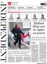 The Independent (UK) Newspaper Front Page for 22 November 2014