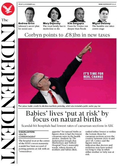 The Independent Newspaper Front Page (UK) for 22 November 2019