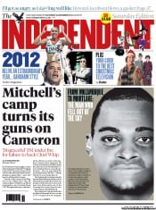 The Independent Newspaper Front Page (UK) for 22 December 2012