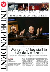 The Independent (UK) Newspaper Front Page for 22 December 2017