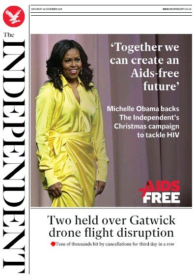 The Independent Newspaper Front Page (UK) for 22 December 2018
