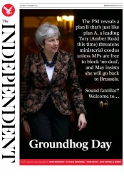 The Independent (UK) Newspaper Front Page for 22 January 2019