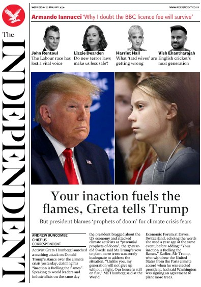 The Independent Newspaper Front Page (UK) for 22 January 2020