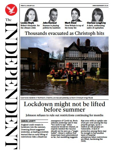 The Independent Newspaper Front Page (UK) for 22 January 2021