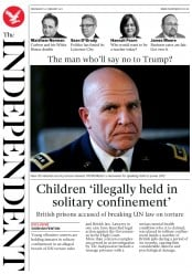 The Independent (UK) Newspaper Front Page for 22 February 2017