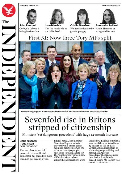 The Independent Newspaper Front Page (UK) for 22 February 2019