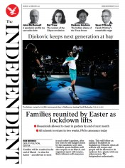 The Independent front page for 22 February 2021