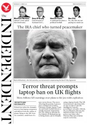 The Independent (UK) Newspaper Front Page for 22 March 2017