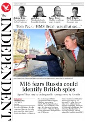 The Independent (UK) Newspaper Front Page for 22 March 2018