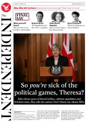 The Independent () Newspaper Front Page for 22 March 2019
