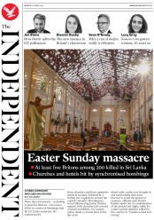 The Independent (UK) Newspaper Front Page for 22 April 2019