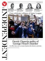 The Independent front page for 22 April 2021