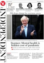 The Independent front page for 22 May 2020