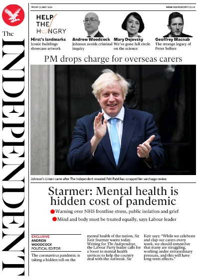 The Independent Newspaper Front Page (UK) for 22 May 2020