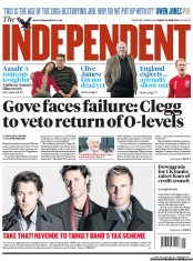The Independent Newspaper Front Page (UK) for 22 June 2012