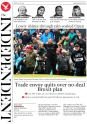 The Independent (UK) Newspaper Front Page for 22 July 2019