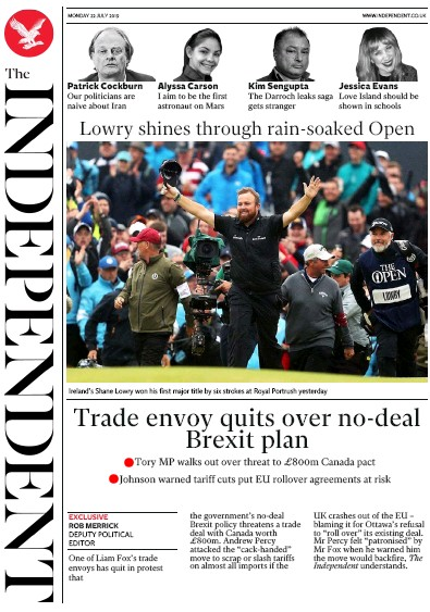 The Independent Newspaper Front Page (UK) for 22 July 2019
