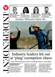 The Independent () Newspaper Front Page for 22 July 2021