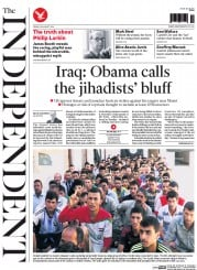 The Independent (UK) Newspaper Front Page for 22 August 2014
