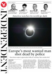 The Independent (UK) Newspaper Front Page for 22 August 2017