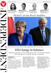 The Independent (UK) Newspaper Front Page for 22 August 2019