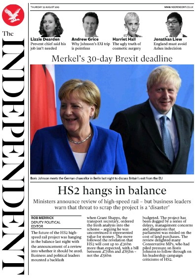The Independent Newspaper Front Page (UK) for 22 August 2019
