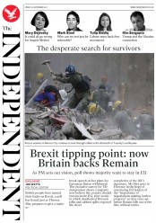 The Independent (UK) Newspaper Front Page for 22 September 2017