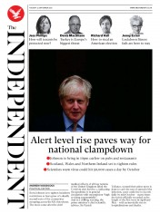 The Independent front page for 22 September 2020