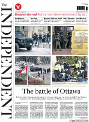 The Independent (UK) Newspaper Front Page for 23 October 2014