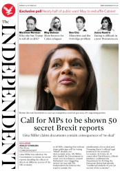 The Independent (UK) Newspaper Front Page for 23 October 2017