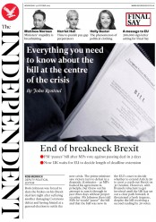 The Independent (UK) Newspaper Front Page for 23 October 2019