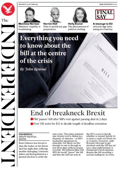 The Independent Newspaper Front Page (UK) for 23 October 2019