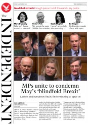 The Independent (UK) Newspaper Front Page for 23 November 2018