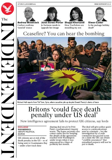 The Independent Newspaper Front Page (UK) for 23 November 2019