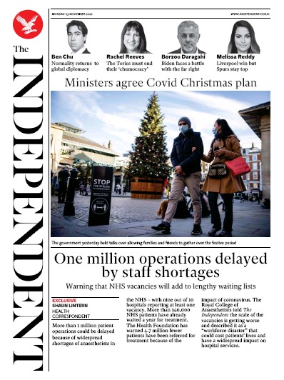 The Independent Newspaper Front Page (UK) for 23 November 2020