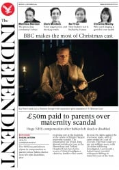 The Independent (UK) Newspaper Front Page for 23 December 2019