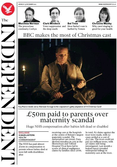 The Independent Newspaper Front Page (UK) for 23 December 2019
