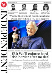 The Independent (UK) Newspaper Front Page for 23 January 2019
