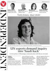 The Independent () Newspaper Front Page for 23 January 2020