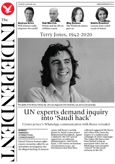 The Independent Newspaper Front Page (UK) for 23 January 2020