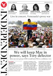 The Independent () Newspaper Front Page for 23 February 2019