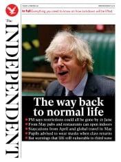 The Independent front page for 23 February 2021
