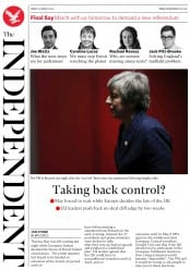 The Independent (UK) Newspaper Front Page for 23 March 2019