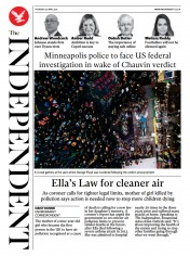 The Independent front page for 23 April 2021